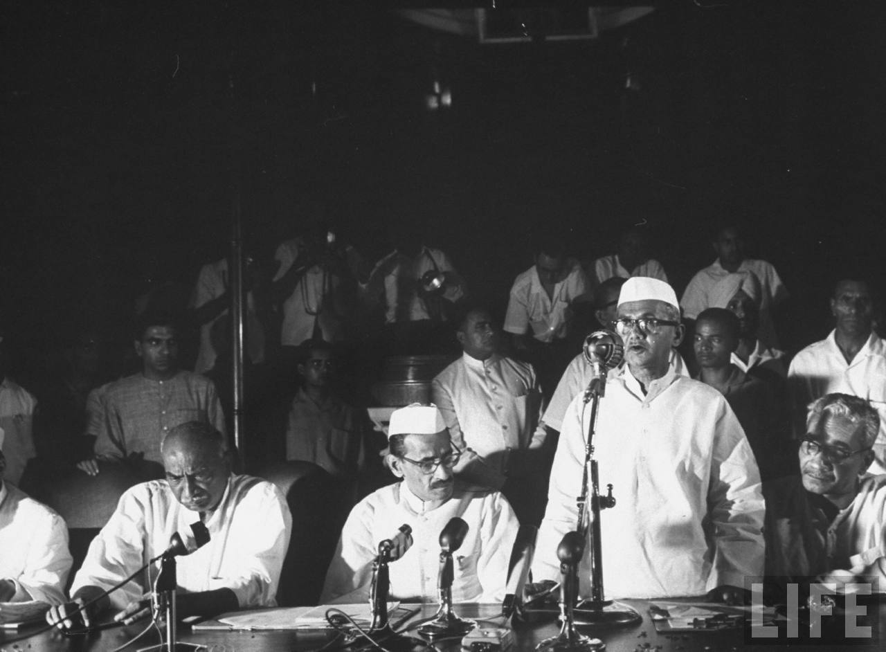 New Prime Minister Lal Bahadur Shastri is giving his speech - June 1964