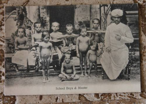 Antique Postcard - School Boys and Teacher - Bombay (Mumbai) India
