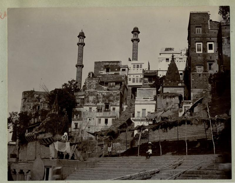 Benares (Varanasi) Ghat - Steps to the River Ganges - 1890's