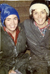 My sister Mary and I in the barn in our barn clothes when she was here to help us... 1982