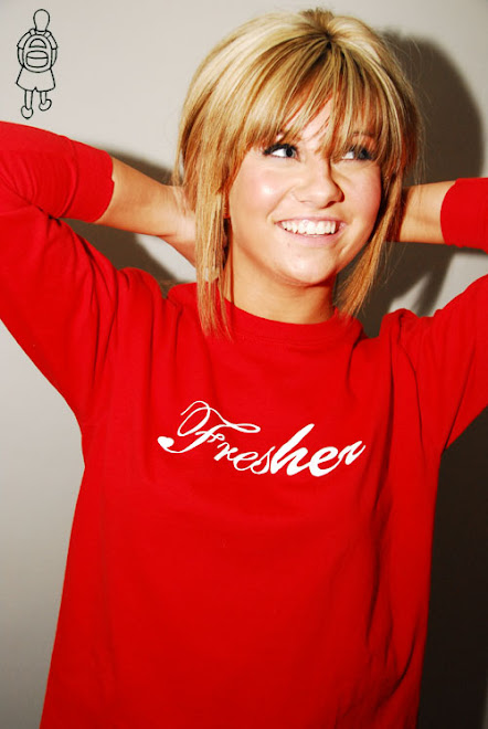 Jessica in red fresher tee