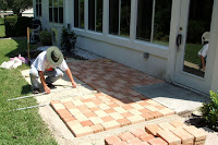 creating our patio with stone pavers