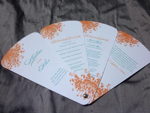 Petal Fan Wedding Programs   Blush Paperie