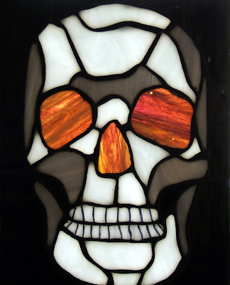 stained glass skull
