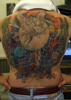 dragon tattoo pegasus tattoo and sexy girl picture tattoo on back body