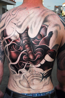 Japanese traditional mask tattoo design on full back body