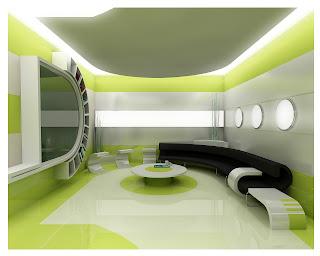 futuristic and modern of living room interior design