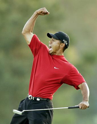 Tiger Woods Signed Fist Pump 16x20 Photo UDA COA