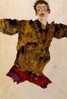 Schiele-selfportrait with outstretched arms