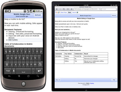 Google Docs na Android, iPhone, iPad, iPod