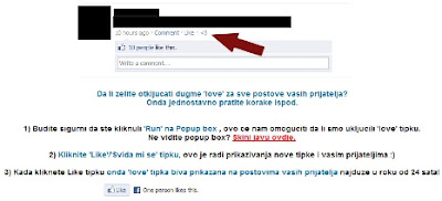 Facebook Trojanac Love gumb