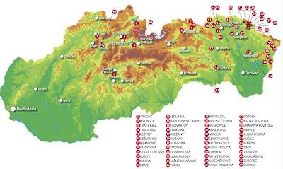 Słowacja kościoły drewniane mapa