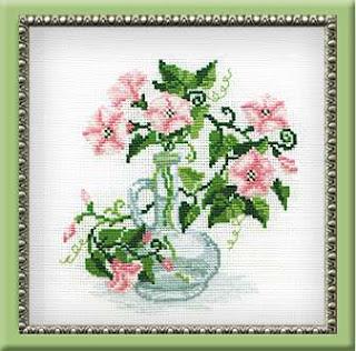 схема вышивки крестом цветы в графине