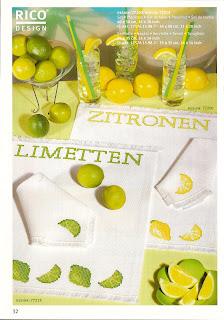 Лимон и лайм - схемы вышивки.
