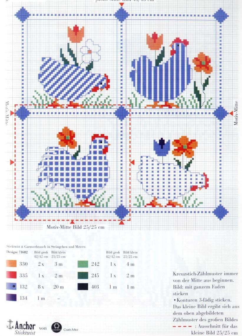 Схема вышивки салфетки крестом