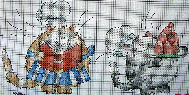 Вышивка котов для кухни