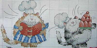 схема вышивки крестом коты-кулинары