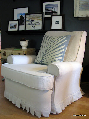 Recliner Slipcover Tutorial. I am SO happy with this chairs transformation. It brightens up the room gives it the casual coastal look I am going for. & blue roof cabin: Recliner Slipcover Tutorial islam-shia.org
