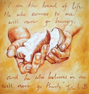 hands of Jesus Christ with bread pieces john 6 35 bible verse blood of life drawing art hd(hq) wallpaper free Christian religious pictures download