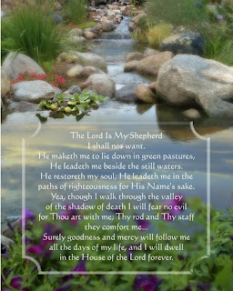 Psalm 23 Verse with pond(lake) background hot picture