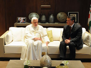 Pope Benedict XVI meeting met King Abdullah II of Jordan at the royal palace in Amman and said that religious freedom was a human right picture