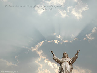 Jesus Christ milk white statue inviting hands with sky sunrise background pic