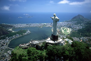 Nice natural greenery image of Christ the redeemer the landmark of Brazil near the bay pic