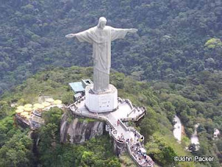 People and tourists visiting the Christ the redeemer statue of Jesus Christ aerial view picture
