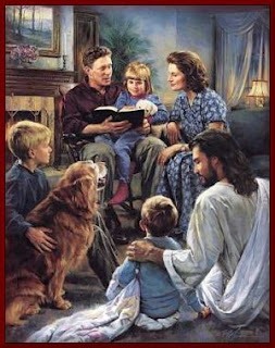 Children(kid) reading bible, playing at Jesus Christ, parents and dog with his family color drawing art picture