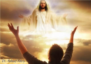 Jesus christ in sky and air people raised their hands to worship the god Jesus Christ photo