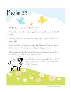 Beautiful nature desktop Christian religious background image with lamb and hill drawing art with 23rd pslam bible verse