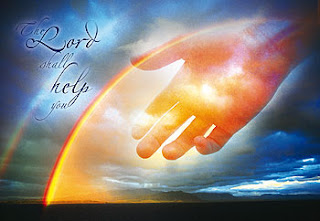 The lord shall help you letters and blue sky background and god hands to help hd(hq) Christian dekstop background wallpaper