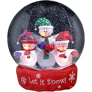 Three snowmans smiling inside the Christmas snow globe picture gallery