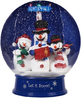 Let it snow caption on Christmas snow globe having three snowmans dolls hd(hq) wallpaper