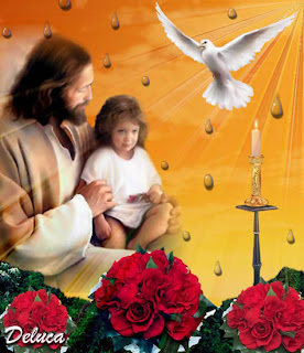 Spritual Christian religious desktop background with Jesus playing with small child(kid) siting in jesus lap and beautiful flying dove photo