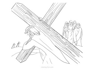 Jesus Christ carrying the wooden Cross and people watching and crying religious Christina coloring page for kids and children free download