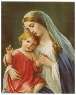 Virgin Mary with cute child Jesus drawing art image