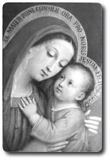 Mother Mary caring child Jesus in hands black and white art photo