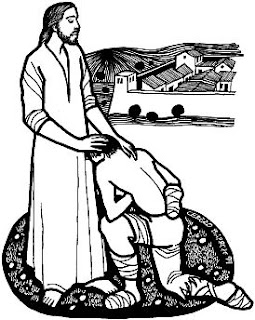 Coloring page of Jesus Christ miracle of healing the leper man and blessing him religious Bible story picture gallery