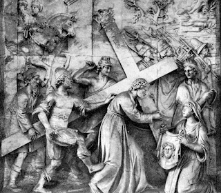 Jesus Christ carrying the wooden Cross and warriors beating sculpture drawing art gallery