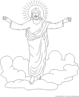 Jesus saving hands raised and welcoming in clouds Christian religious coloring page free download