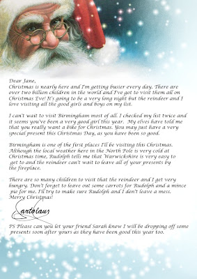 face of Smiling Santa Claus written letter to kids(Children) with Beautiful stars and blue background template about Christmas gifts free download Christmas christian images