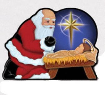 Bright big yellow Christmas star at Bowed Santa Claus kneeling at Jesus in the manger(stable) ornament photo free Christmas Christian images clip arts download