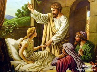 Drawing photo of Jesus miracle of healing Jairus daughter at her parents download free religious background pictures