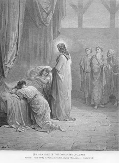 Jesus raising up the daughter of Jairus, and he... took her by the hand, and called, saying, Maid, arise....(Luke 8:54) bible verse black and white image download free Christian images