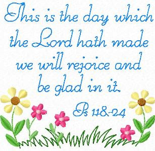 Psalm 118-24 bible verse picture with Blue letters, yellow and pink flowers design free download religious desktop background images and Christian pictures