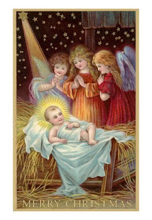 Angles praying to Jesus as his smiles in the crib during Christmas day - The birth of Jesus Merry Christmas letters greeting download free Christian Christmas images
