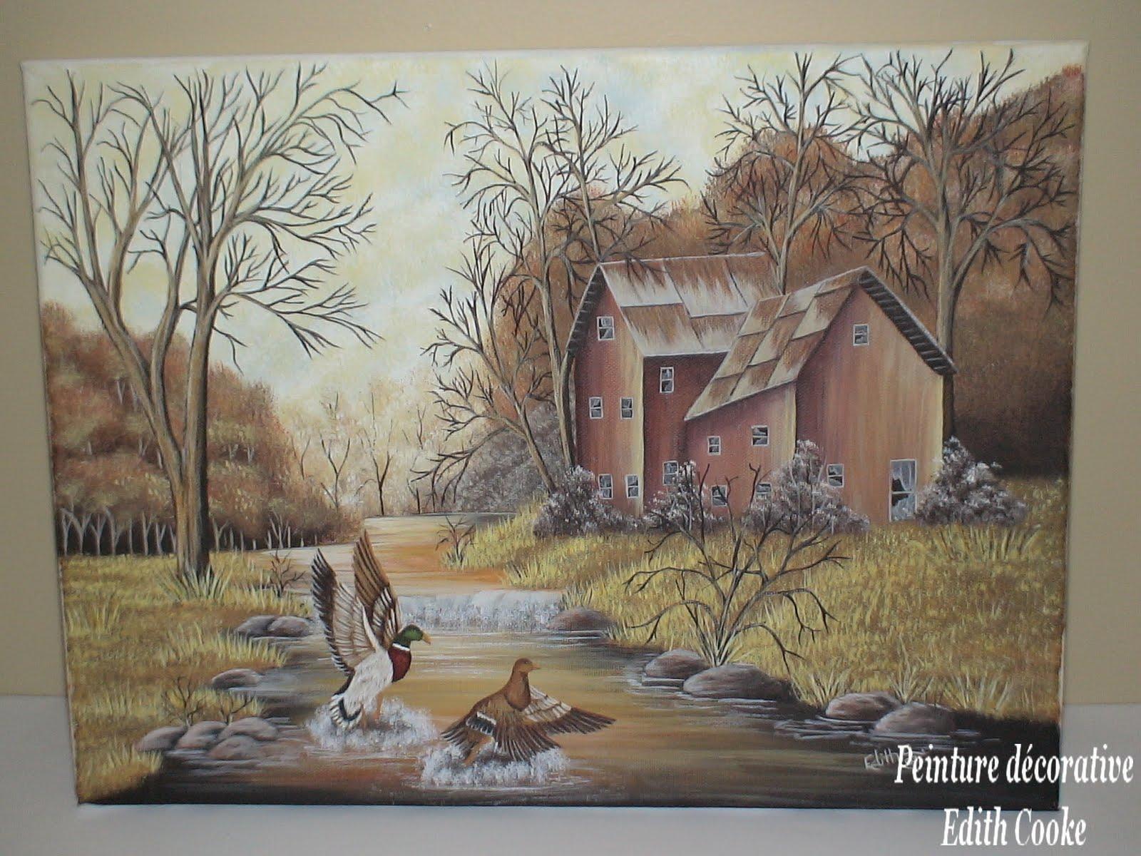 Peinture d corative edith cooke toile de canards for Modele de peinture decorative