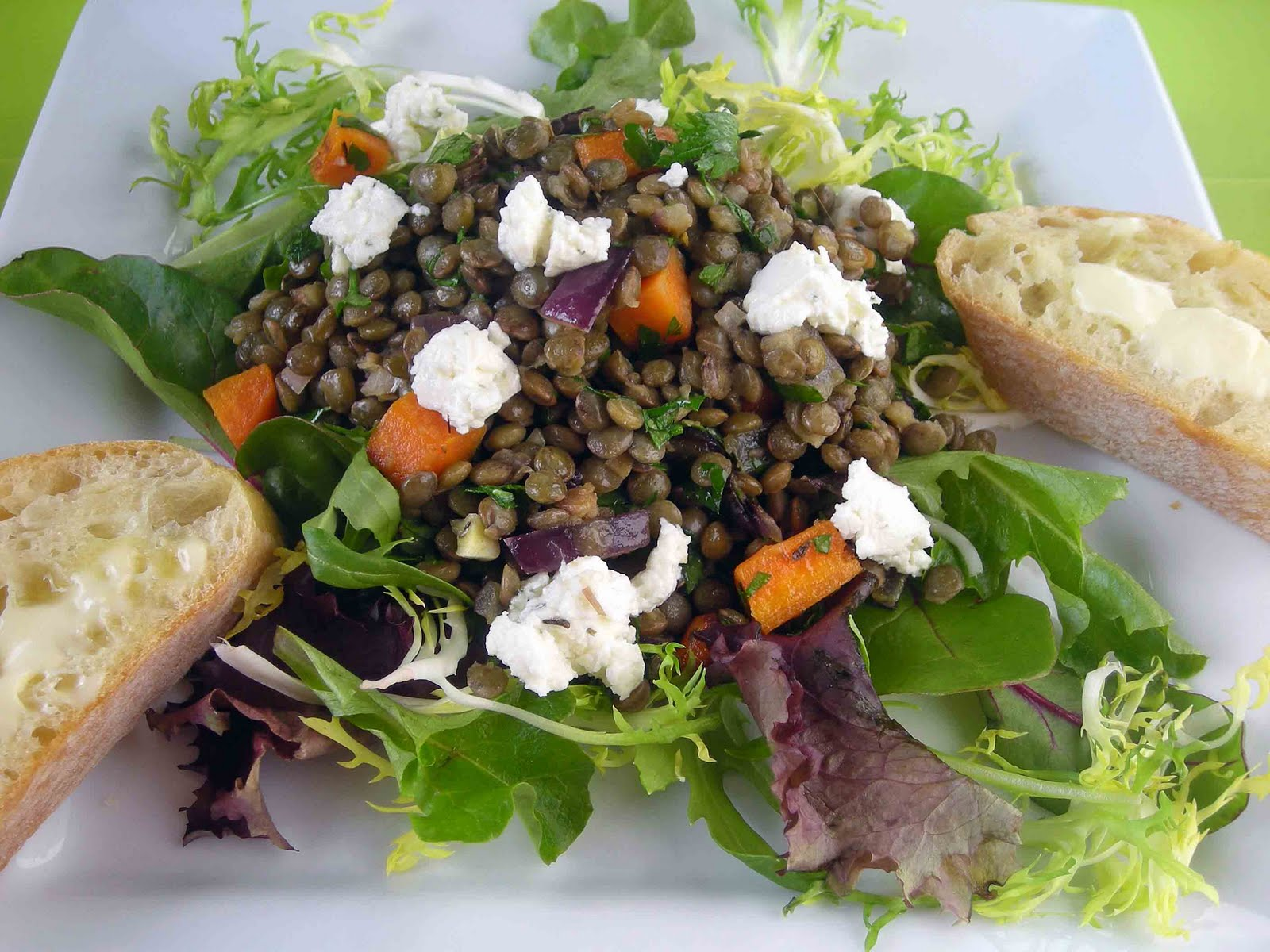 My Carolina Kitchen: French Lentil Salad with Goat Cheese and Fontaine ...