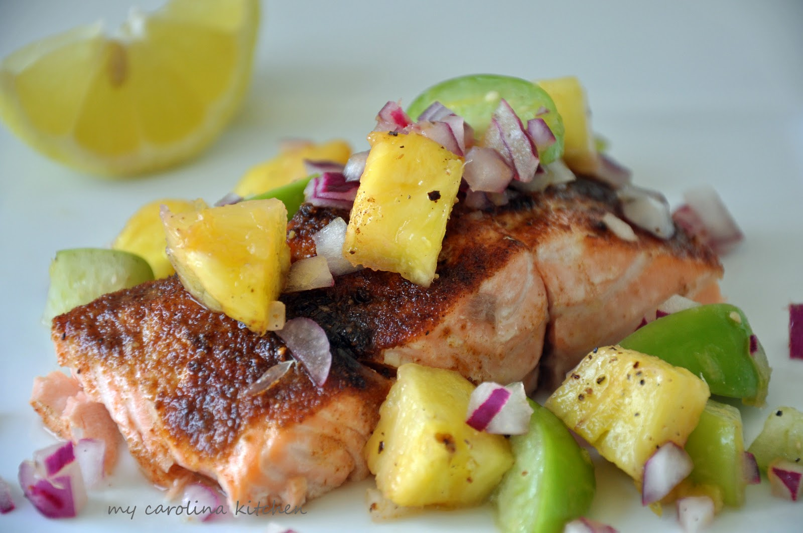 ... Kitchen: Broiled salmon with tropical pineapple and tomatillo salsa